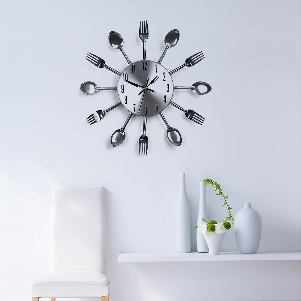 Modern Sliver Cutlery Kitchen Utensil Clock Spoon Fork Creative Mirror Wall Stickers w/ Mechanism New(China (Mainland))
