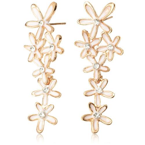 Free Shipping Beautiful Alloy Six Flowers Pattern Design Stud Earrings(China (Mainland))