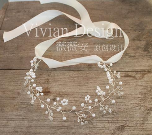 Wedding hair accessory edition pearl crystal the bride hair braid marriage Wedding tiara