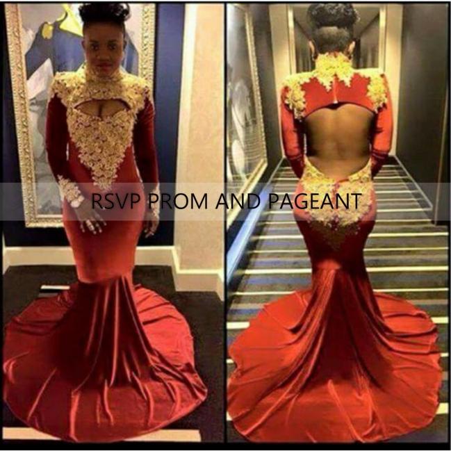 Популярные русалка стиль платье выпускного вечера 2015 высокая шея золото аппликация с длинным рукавом длиной до пола , спинки бургундия пром платья