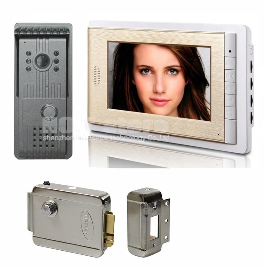 2015 New HD CCD Camera Night Vision 7 inch TFT Color LCD Display Video Door Phone Visual Intercom Doorbell + Electric Lock(China (Mainland))