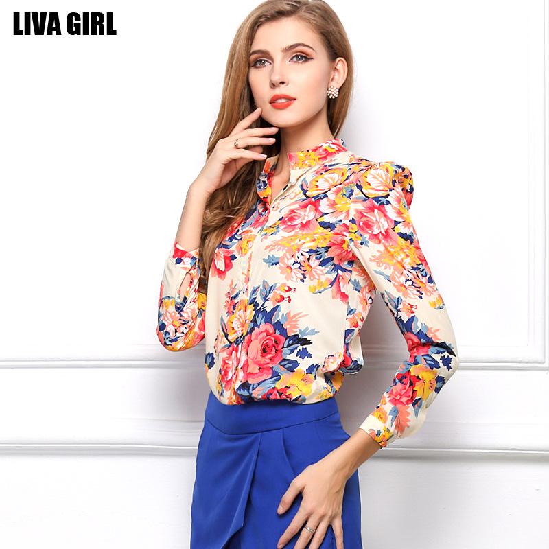 2015 European Style Spring Casual women long sleeved Floral print chiffon shirt 128(China (Mainland))