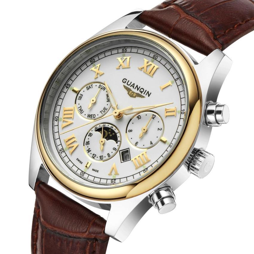 Подлинная корова кожа наручные часы оптовая продажа мода часы мужчин бренд GUANQIN водонепроницаемые часы класса люкс человек смотрит мужчин старинные