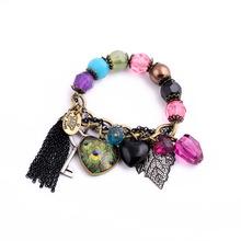 Clearance Sale Colorful Beads Chain Leaf Heart Tassel Pendants Women Bracelet Jewelry Factory Wholesale(China (Mainland))