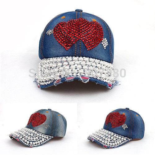 2pcs/lot Bling Red Rhinestone Crystal Cupid's Arrow Denim Snapback Hat Double Heart Pearl Adjustable Baseball Cap(China (Mainland))