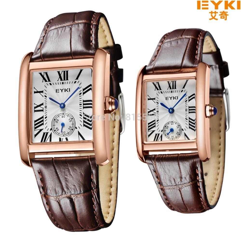 2015 New Eyki Brand Original Box Packing Rose Golden Square Roman Numerals Men & Women Leather Band Quartz Watches 8865(China (Mainland))