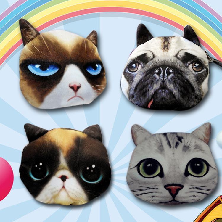 Women Girls Kids Cute Cat Dog Face 3D Purse Mini Coin Bags Zip Wallets Handbags Polyester Fashion Accessories BG-0492/br(China (Mainland))