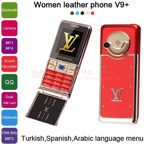 2015 Turkish Spanish Arabic Luxury Metal back Cover Camera one-key MP3/MP4 FM Radio mini women gilr Cell mobile Phone V9+ P66(China (Mainland))