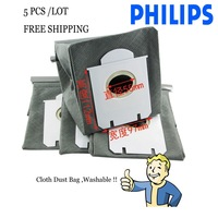 5-Piece/LOT Free Shipping  Vacuum Cleaner washable Fabric Dust Bag for Philips C9017 FC9073 FC9102 FC9122 HR8532 HR8565