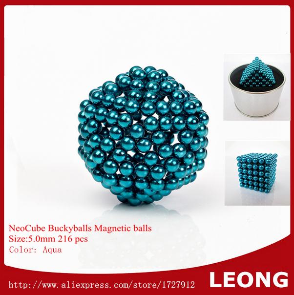 2015 Super Selling Neocube Buckyballs Magic Cube Puzzle 5mm 216pcs Aqua Color Magnet Magnetic Balls cubo magico Kids Toy(China (Mainland))