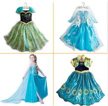 New 2015 Summer Girls Dress Elsa Anna Cosplay Dress vestidos infants princess Dress Children Clothing Baby