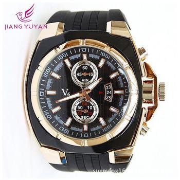 V6 известных марок мужской спортивного движения большой циферблат кварцевого кремния наручные часы