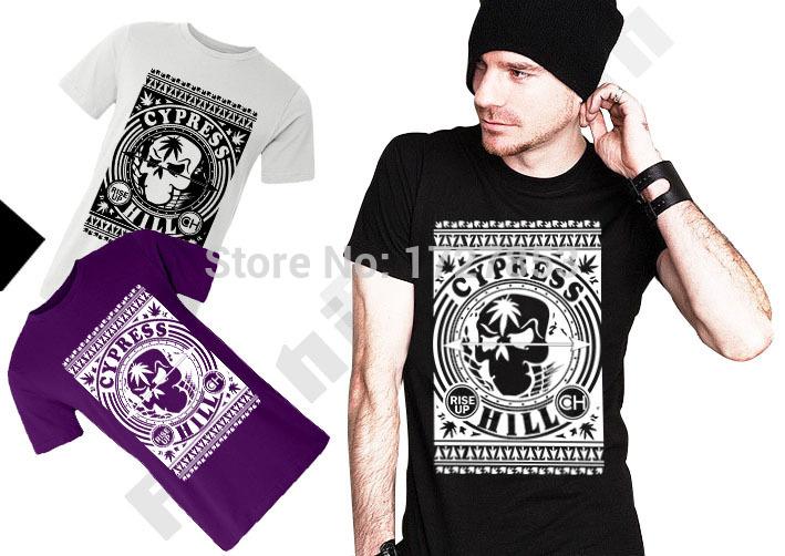 Fashion Men Rock Roll T Shirt Cotton Short Sleeve O Neck Top Tees Cypress Rise Up Hill Printed T-shirt Skull Tshirts Free Ship(China (Mainland))