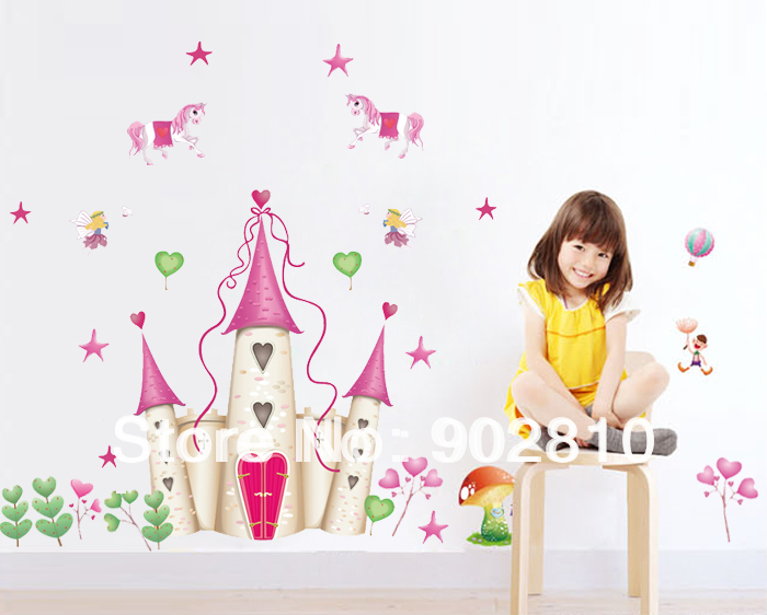 [listed in stock]-120x100cm(48x40in)PVC Removable Fantasy Fairy Tale Castle Unicorn Wall Decal Wall Sticker For Decoration(China (Mainland))