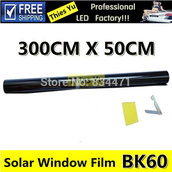 Car Solar Window Tint Foils & Solar Protection Film Light Black 60% 50CM*300CM Free Shipping(China (Mainland))