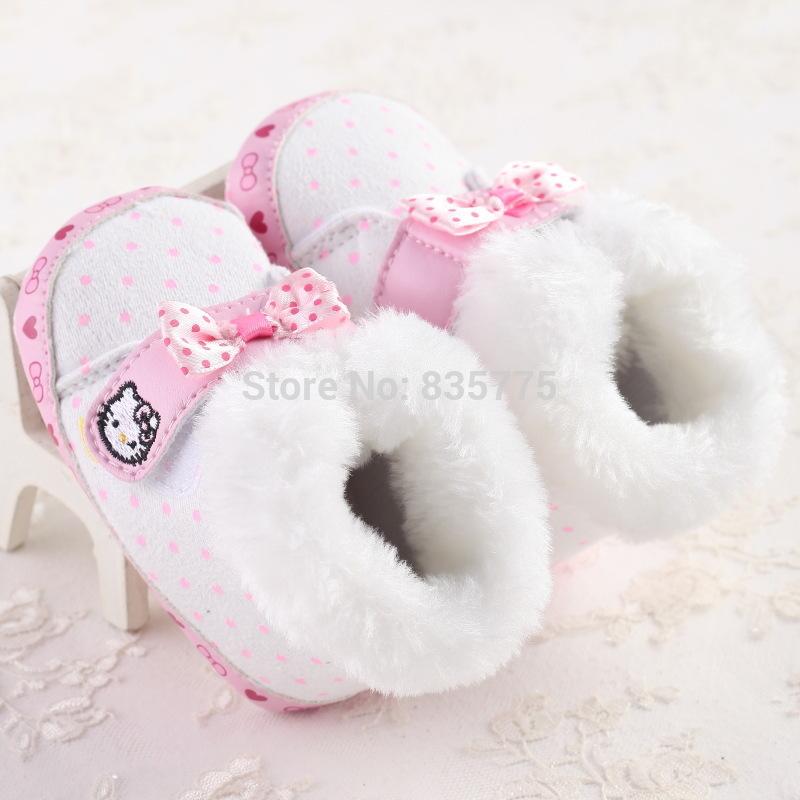 2015 New Fashion Winter Super Warm Newborn Baby Prewalker Shoes Infant Toddler Hello Kitty Soft Bottom Anti-slip Boots Booties(China (Mainland))