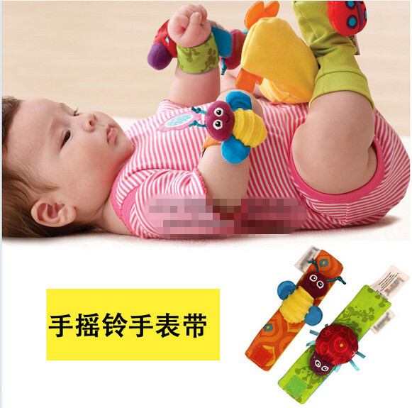 1 pair 2015 HOT kid gif Baby Infant Soft Handbell Wristbands Rattles baby toys baby rattles toy wrist rattles free shipping(China (Mainland))