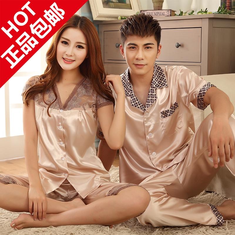 Summer short-sleeve 2015 lovers sleepwear pajama pants twinset at home clothes cool silk lovers sleepwear free shipping(China (Mainland))