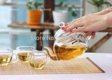 2015 Newest 5pcs set high temperature resistant glass flower teapot set 1pc 600ml teapot 4pc 50ml
