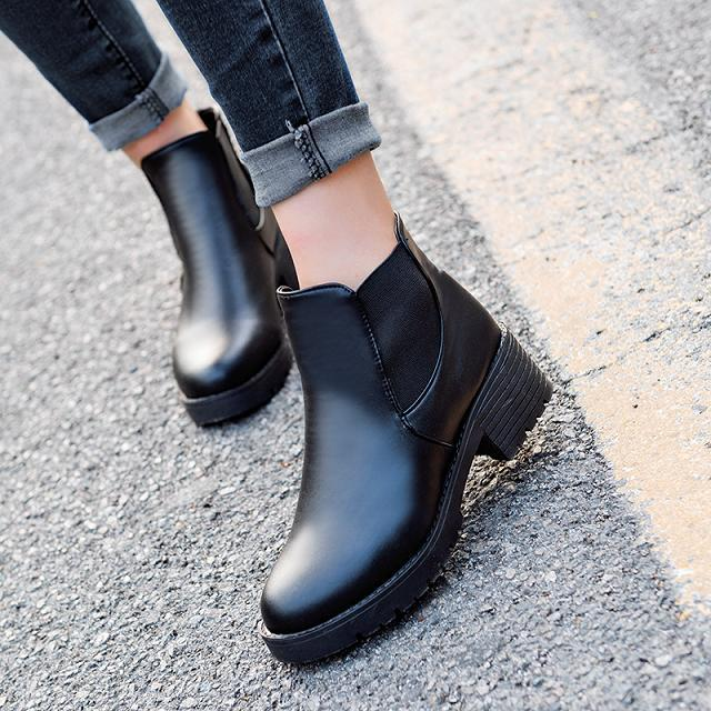 Flat short boots women's shoes plus cotton thick 2015 fashion martin boots spring british style winter ankle boots(China (Mainland))