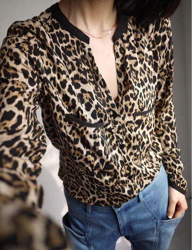 2015 Fashion Women Wild Print Chiffon Blouse Lady Sexy Long Sleeve Top Casual Shirt Loose V-neck Leopard Blusas Blouses & Shirts(China (Mainland))