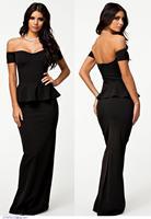 Summer Special Occasion Vestido Longo Black Women Evening Dress With Drop Shoulder Robe De Soiree 2015 New Elegant Gowns LC6244