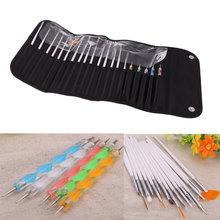 Fashion Nail Art Brushes Pen Design Painting Dotting Detailing Pen Bundle Tool Kit Set with Case nail tools 20pcs/set(China (Mainland))