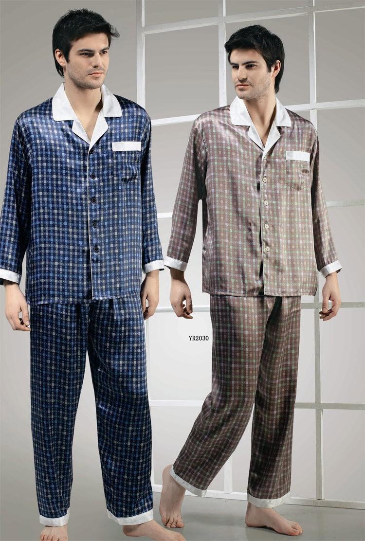 100% Silk Print Men Lounging Wear Pajamas Set 2030(China (Mainland))