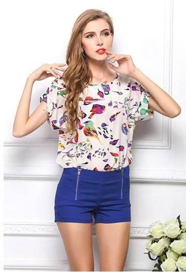 Hot sale European style large size edition ladies chiffon blouse shirt(China (Mainland))