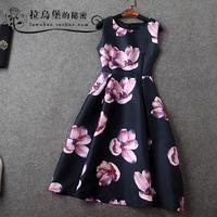 2015 spring and summer fashion print sleeveless basic midguts slim one-piece dress