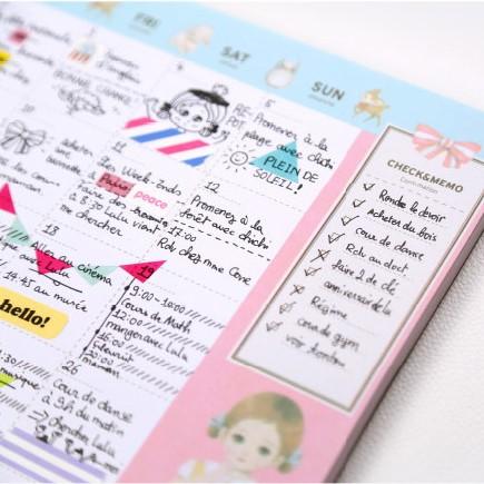 Cute Kawaii Doll pattern desk note pad schedule desktop memo pad monthly weekly planner(China (Mainland))