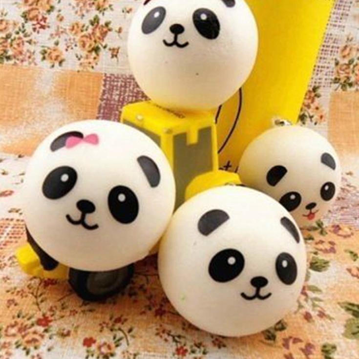 Hang Rope Straps Random Pattern Drop Cute Panda Cartoon Face Squishy Cell Phone Shipping PA-0082