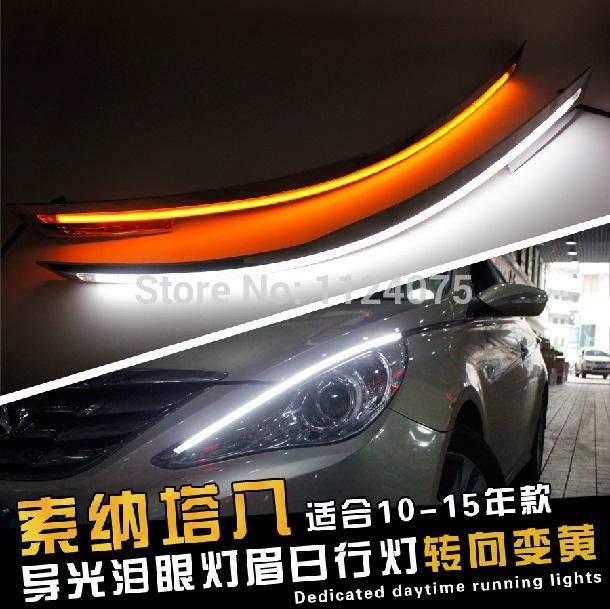 Free shipping Angel Eyes LED Car Headlight Eyebrow Eyelids Headlights For Hyundai Sonata YF 2010 2011 2012 2013 2014 2015(China (Mainland))