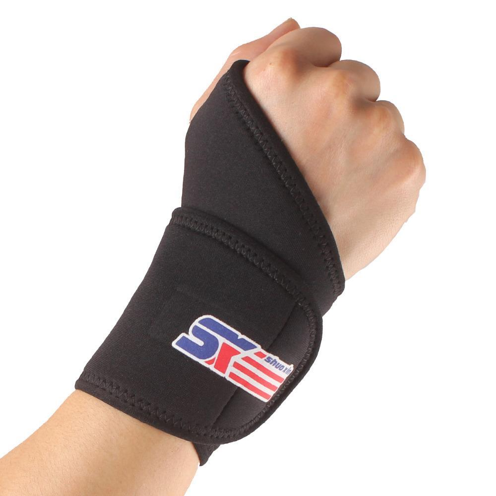 Y One Piece Sport Wrist Support High Quality Synthetic Rubber Adjustable Wristband Bracer Black Dropping Shipping(China (Mainland))