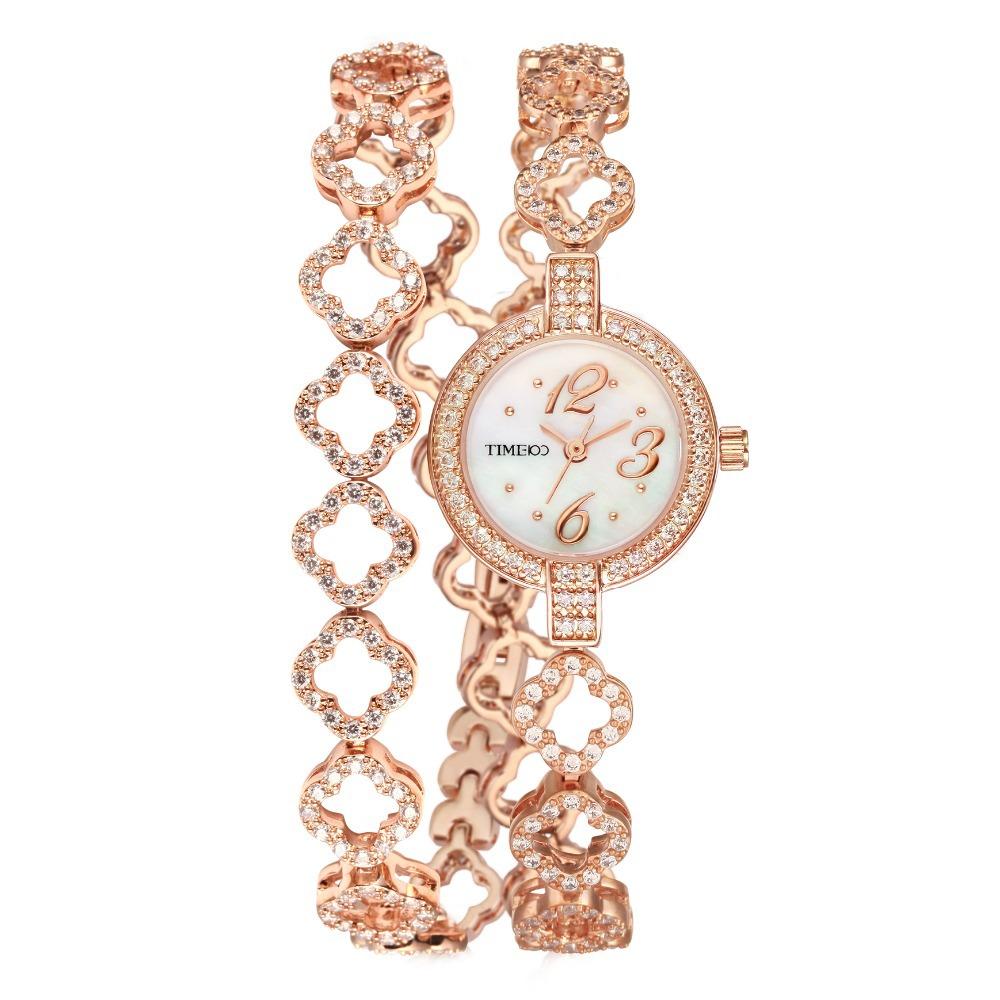 New TIME100 Women s Quartz Watches Reloj Mujer Round Dial Diamond Jewelry Rhinestone Brass Strap Ladies