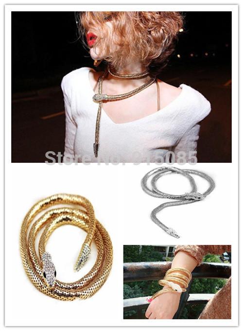 Sexy Punk Flexible Bendable Snake Jewelry Necklace Choker Bracelet Scarf(China (Mainland))
