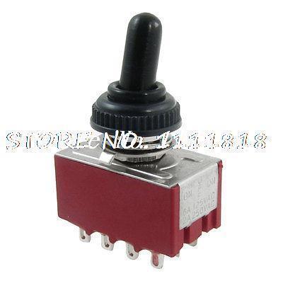AC 2A/250V 6A/125V ON/Center OFF/ON 4P2T 4PDT 12 Pins Toggle Switch + Rubber Cap(China (Mainland))