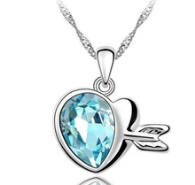 Wholesale Lots Free Shipping Fashion Cupid Heart Women Crystal Necklaces Pendants Jewelry 6 colors