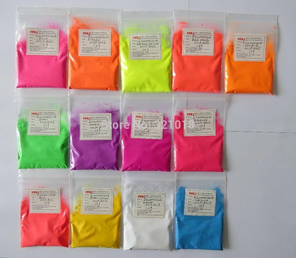 mix color fluorescent powder, fluorescent pigment ,1lot=13colors,10gram per color,total 130g,color:green,pink,yellow,white,etc..(China (Mainland))