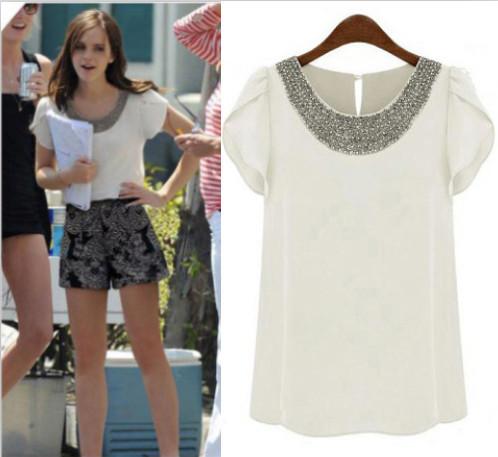 2015 Summer fashion casual women chiffon beading blouses & shirts short puff sleeve loose shirts plus size 4XL(China (Mainland))