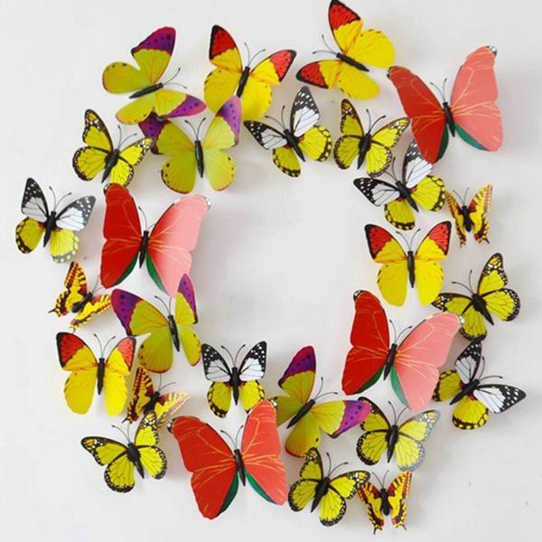 1200Pcs Vinyl 3D Magnet Butterflies For Wall Art Decal Removable DIY Wall Stciker Home Decor Decoration Gossip Girl Same Style(China (Mainland))