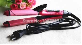 1 шт. 2 в 1 выпрямитель для бигуди турмалин керамическая выпрямления щипцы для завивки укладки волос инструменты 110 - 240 V ес / сша