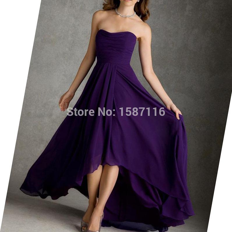 Cheap Bridesmaid Dresses Chiffon Dark Purple High Low A Line Strapless Simple Design Bridesmaid Dress Zipper Back Sleeeveless(China (Mainland))