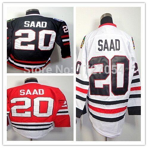 #20 Brandon Saad Jersey Authentic Chicago Hockey Jerseys Limited Chicago Ice Hockey Jerseys Stitched Size 56 M-XXXL Embroidery(China (Mainland))
