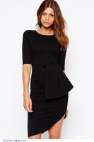 Fashion women clothing vestidos de festa curto half sleeve brief Black Gather Side Asymmetrical Mini Dress summer 2015 LC21719