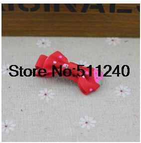 Free shipping Ribbon Bow baby Kids Strawberry Satin Bowknot Hairpin 5pcs hair accessories(China (Mainland))