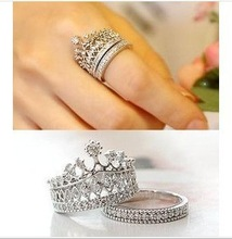 2015 New Fashion Plated Silver Jewelry Rings Austrian Crystal Crown Rings Sparkling CZ Diamond Party Engagement Wedding Rings(China (Mainland))
