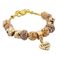 Top Sale European Style DIY Gold Plated Snake Chain Heart Pendant Charm Bracelet& Bangle For Women Fashion Jewelry SBR150082