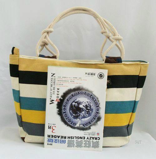 Hot Sale Women's Handbag Casual Lady Shoulder Bag Printing Bag Canvas Beach Bag Stripped Colorful Bag JL*YYB456*50(China (Mainland))