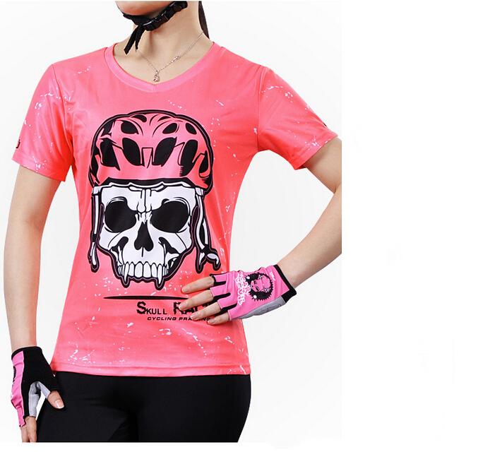 CHEJI skull pink short-sleeved v-neck t shirt women Summer casual blazer Quick-drying breathable Cycling jerseyscrop top(China (Mainland))